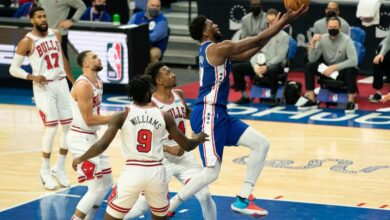 Photo de Avec (50 points) face aux Bulls, Joël Embiid plane sur la NBA